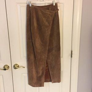 100% genuine leather maxi skirt